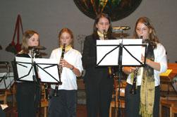 Das Klarinetten-Quartett, unter Leitung von Yasmin Müller spielten Werke von Haydn und Schubert.