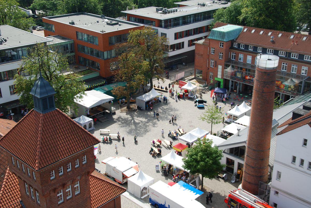 Der Alsterdorfer Markt von oben betrachtet